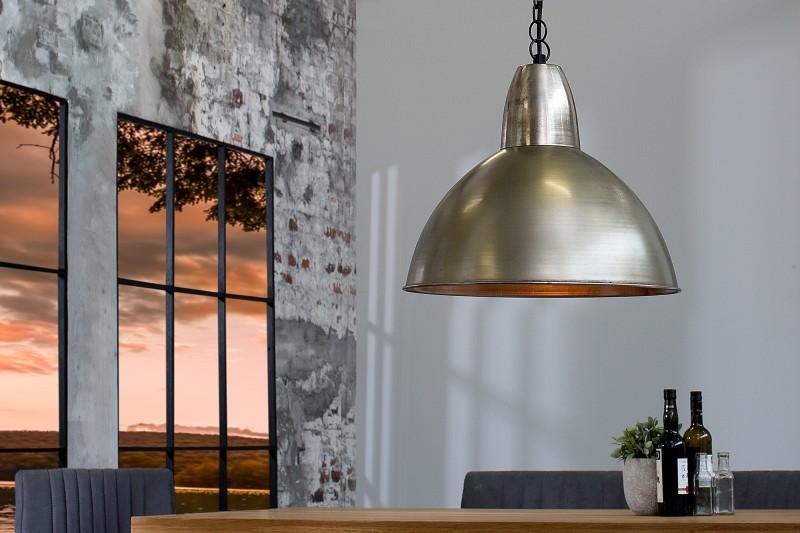 Závesná lampa Industrial L 35cm strieborná meď