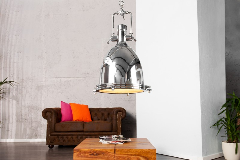 Závesná lampa Industrial chróm 35cm