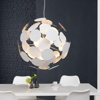 Závesná lampa Infinity biela strieborná