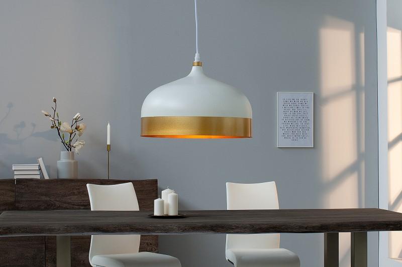 Závesná lampa Modern Chic II biela zlatá