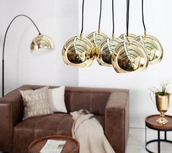 Závesná lampa Perlota XL zlatá