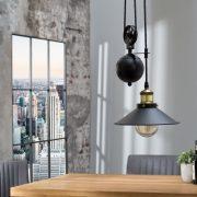 Závesná lampa Rope čiernozlatá