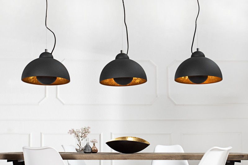 Závesná lampa Studio 3 čiernozlatá