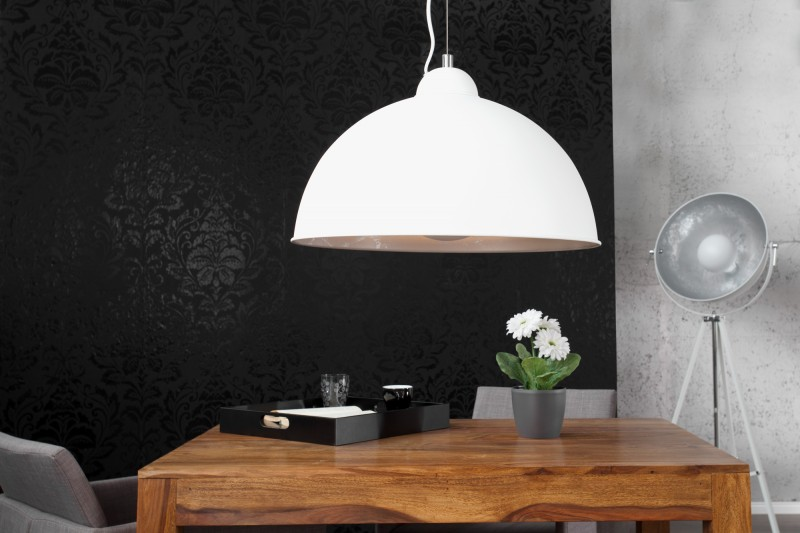 Závesná lampa Studio biela strieborná