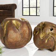 teakové drevo-Wurzel Root set 2ks prírodná zlatá